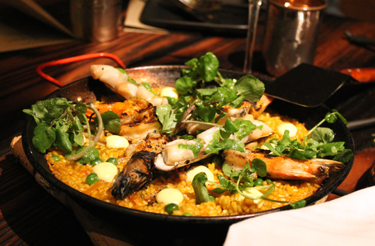 Shrimp and razor clam paella.