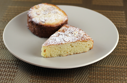 Almond cake (front) and passion fruit almond bostock (back).