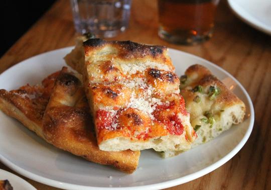 Focaccia made with the same dough as the pizzas.