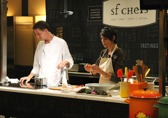 Dominique Crenn of Atelier Crenn putting together her imaginative dish.