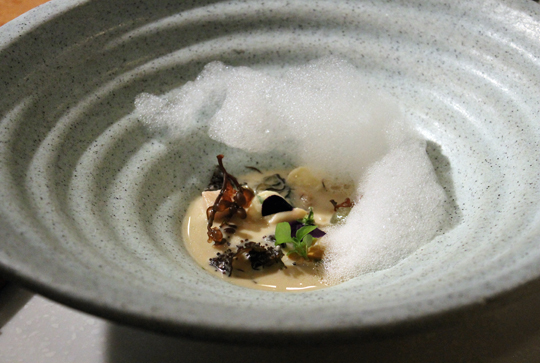 Crenn's dish was inspired by the sea and seafood of Brittany.