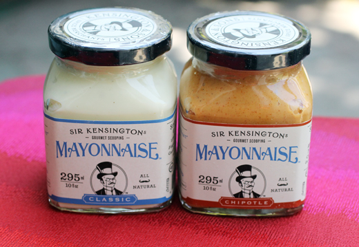 The mayo comes in squat jars to make scooping easy.