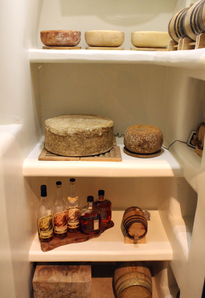 The cheese cave at the entrance to the restaurant.