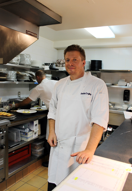 Executive Chef Justin Cogley in the kitchen of Aubergine at L'Auberge Carmel.