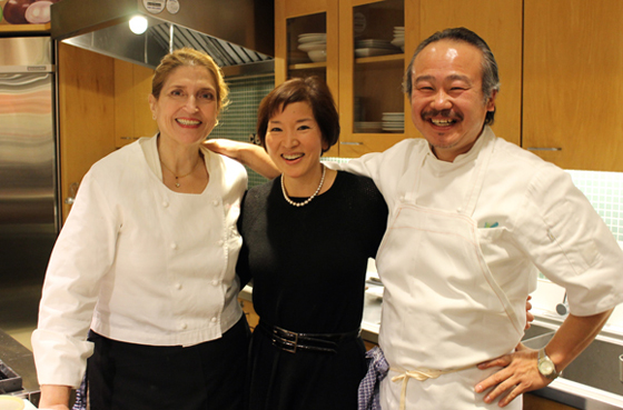 Yours truly, flanked by chefs Lissa Doumani and Hiro Sone of Ame and Terra restaurants. Taken just before the start of our Macy's Union Square San Francisco event. (Photo taken by Craig Lee)
