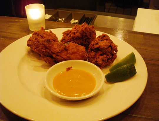 Hot and crunchy curry fried chicken.