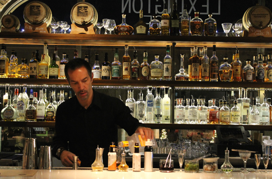 Co-Owner Stephen Shelton carefully crafting a cocktail.