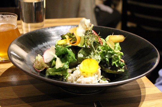 Crab salad with Ecopia baby greens.
