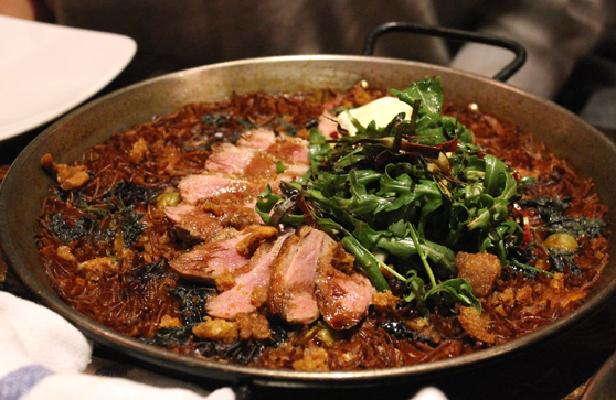 Fideua with duck and olives at Duende is featured in my debut cookbook.