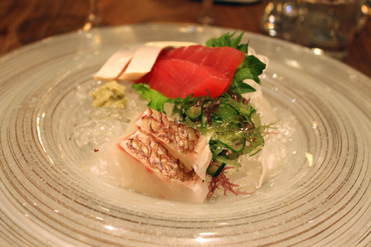 Assorted sashimi.