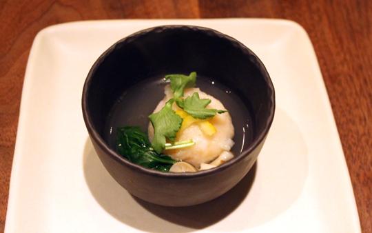 Shrimp-scallop dumpling in broth.