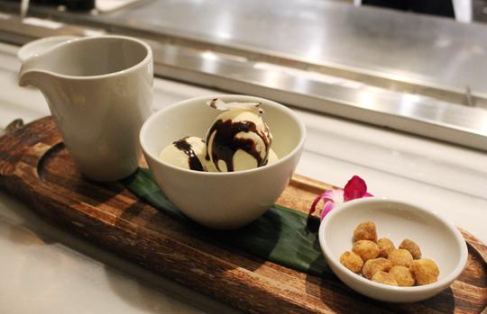 Coconut ice cream sundae.