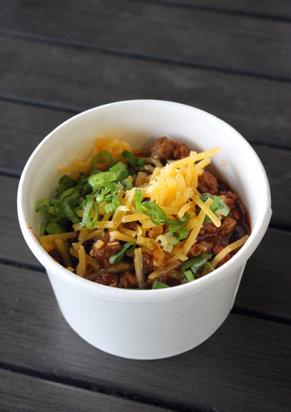 A small cup of the fabulous chili con carne.