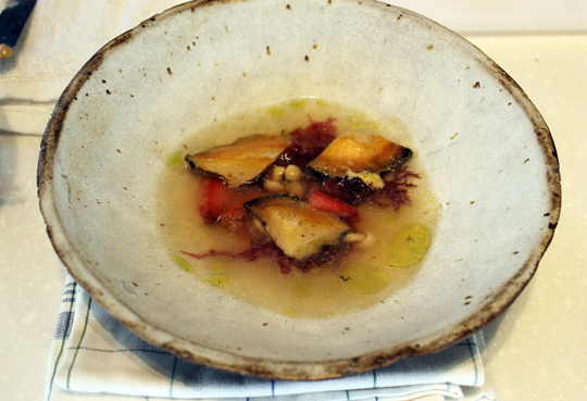 Cogley's dish of abalone in umeboshi broth with plums and green tea oil.