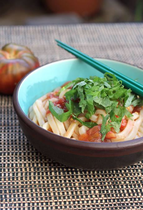 Fresh tomatoes, soy sauce, olive oil and shiso flavor this wonderful cold noodle dish.