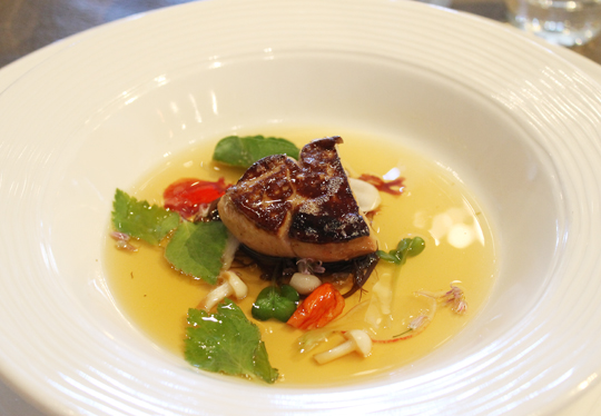 Seared foie gras with seaweed, radish and duck-dashi consomme by Chef Mark Dommen.