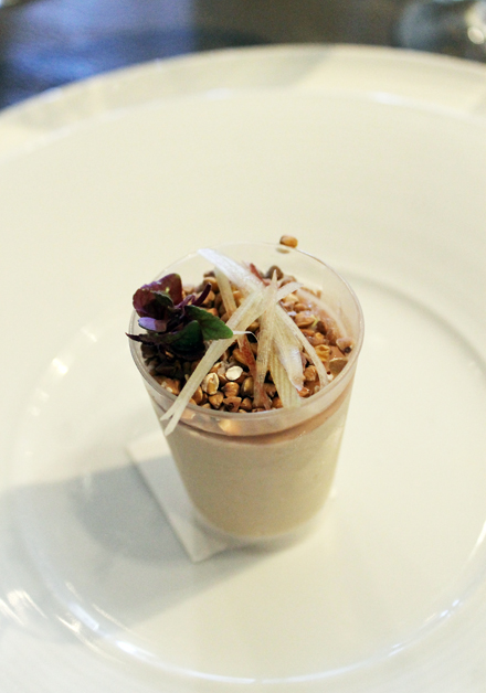 Chef Doug Keane's parfait of foie gras with cherry blossom gelee, myoga and shiso.