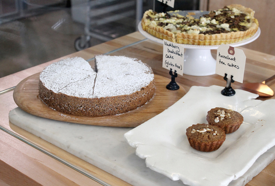 Pastries baked on site are sold and served in the cafe.