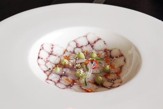 An elegant presentation of octopus.