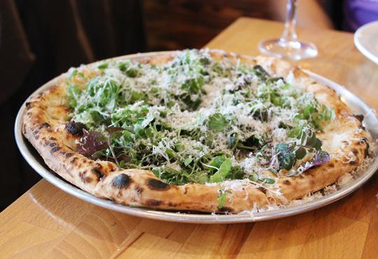 """""""Field of Greens'' pizza."""