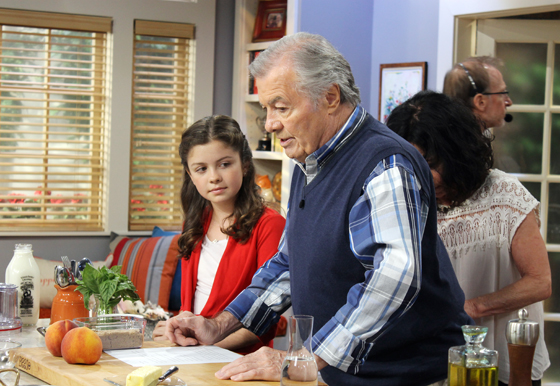 Jacques Pepin and his grand-daughter Shorey preparing to film an episode of his last cooking series.