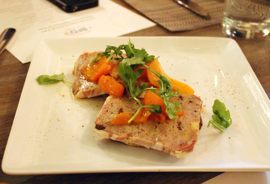Slices of country pate with fabulous pickled persimmons.