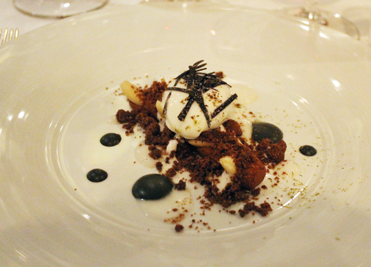 Chef Riccardo Agostini's dark chocolate with almond ice cream and sweet black truffle sauce.