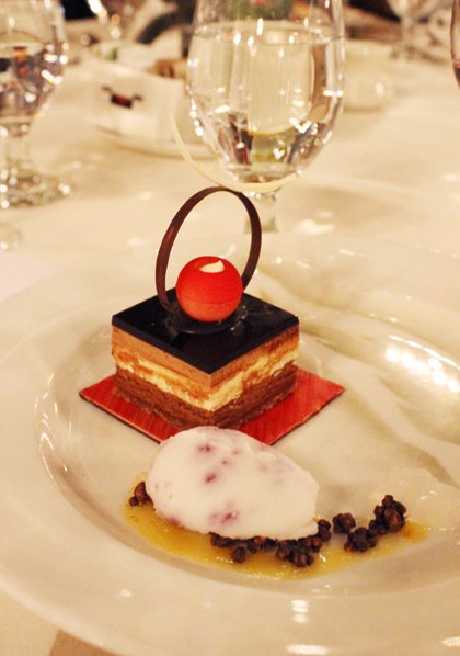 Three-chocolate mousse torte with chartreuse sorbet by Pastry Chef Paul Padua of the Ahwahnee.