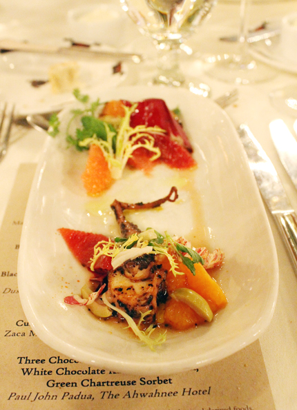 The second course by Antonitsas spotlighted Spanish octopus with blood orange and green olive.