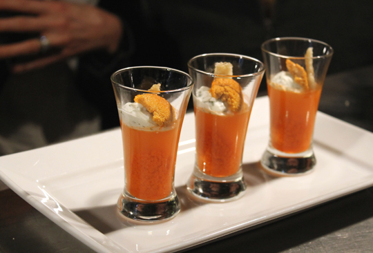 A tasting of Ron Siegel's uni parfait with winter carrots.