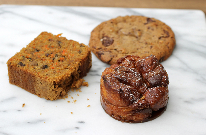 Gluten-free carrot cake, whole wheat chocolate chunk cookie, and monkey bread.