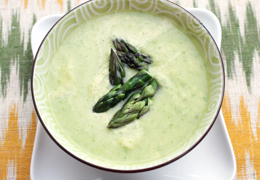 A rich pistachio cream gets stirred into this asparagus soup just before serving.