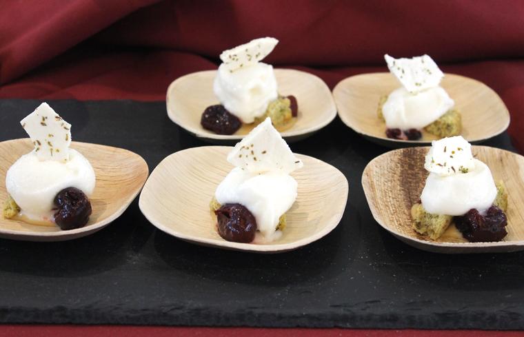 Burritt Room's Pistachio Cake with Greek Yogurt Ice Cream.
