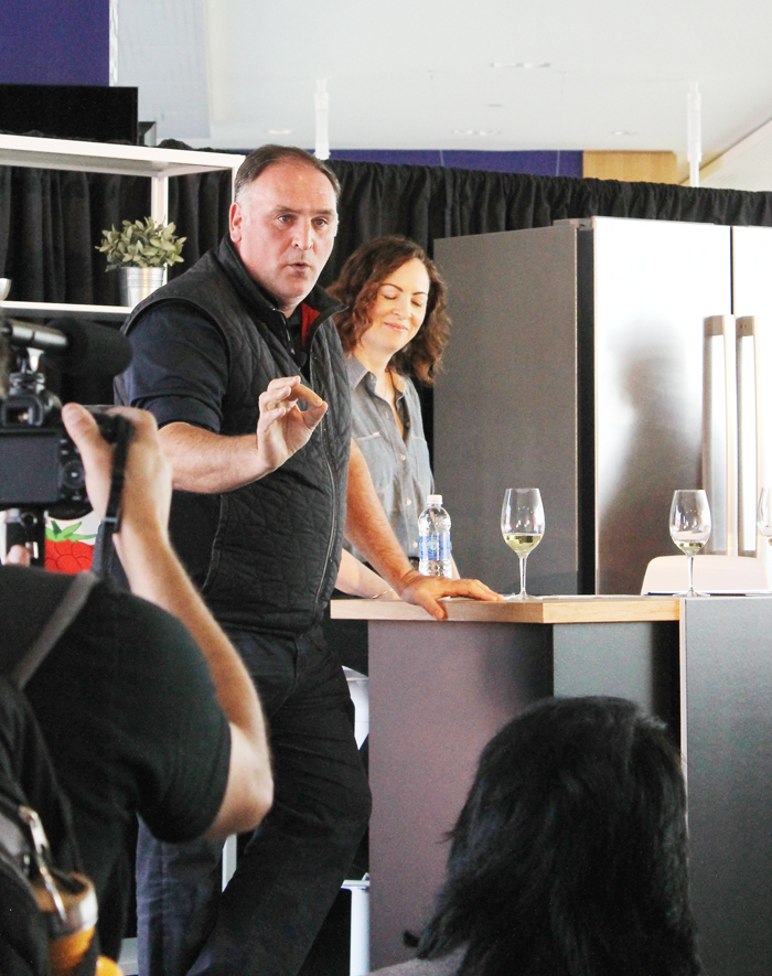 Chef Jose Andres speaking before a crowd.