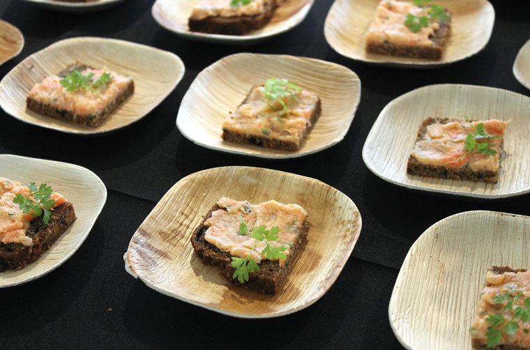 Manresa Bread's salmon rillettes spread on seaweed-rye bread with house-milled rye.
