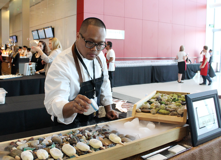 Chef John Madriaga of Spruce puts the finishing touches on his unusual creation.