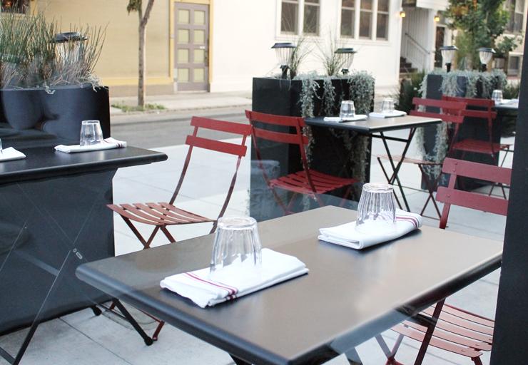 Outside tables.