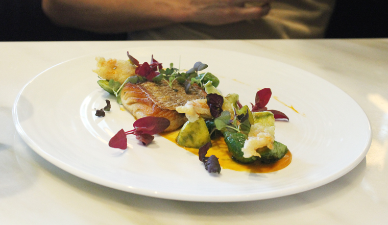 Thai snapper with squash blossoms.
