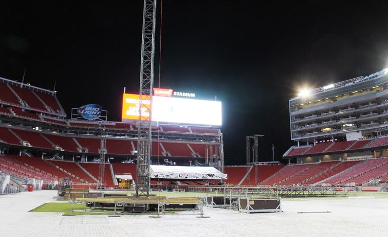 The stadium field.
