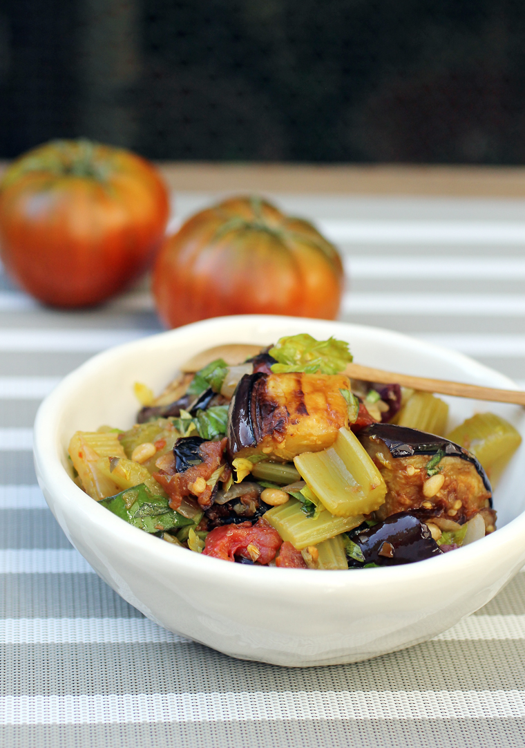 Eggplant, tomatoes, olives, pine nuts and a whole lot of love.