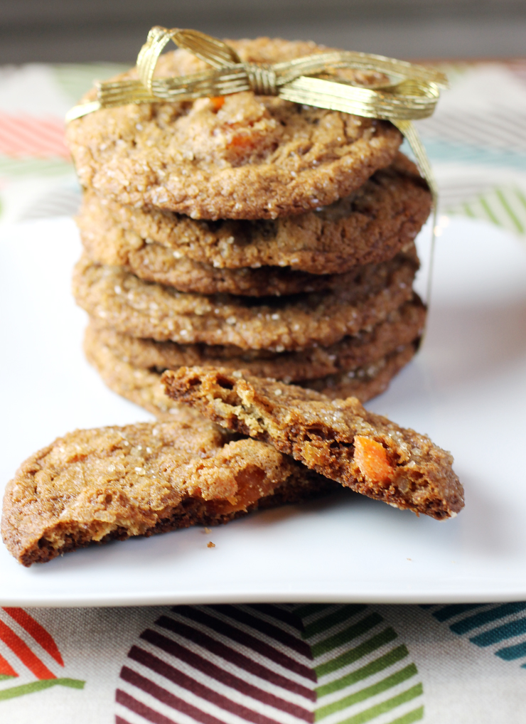 A heap of ginger and soft, chewy apricots flavor these cookies.