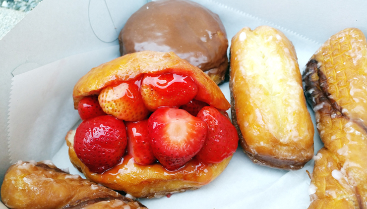 Feast your eyes on the famed strawberry donut.