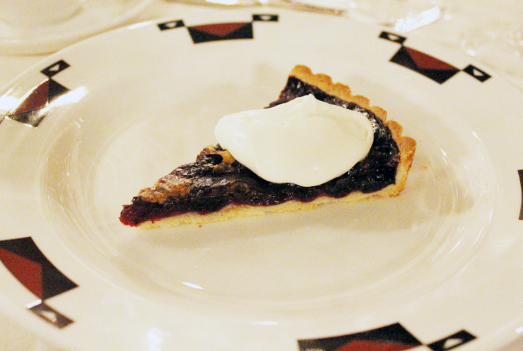 Warm blueberry tarte with whipped creme fraiche.