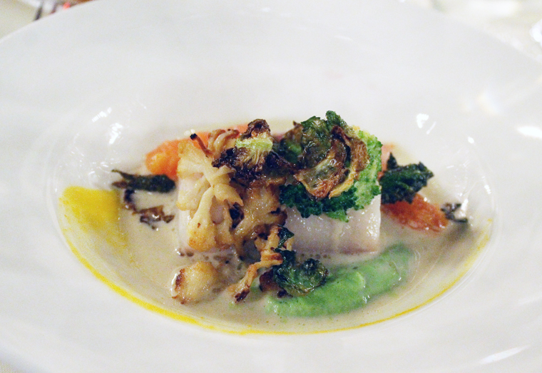 Steamed black codd with brassicas and citrus koshu.