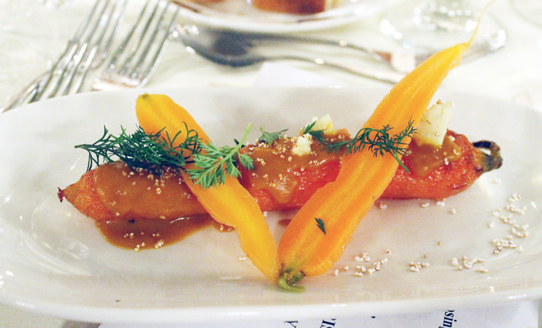 Winter carrots -- braised and pickled -- with chestnut.
