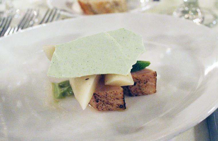 Liberman's hamachi with pine meringue.
