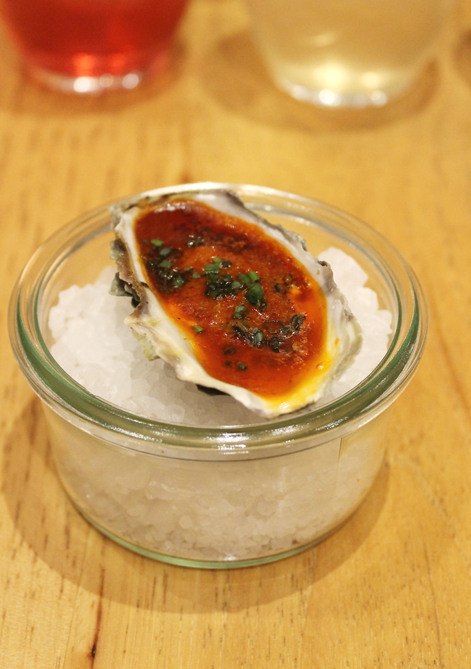 A spicy baked oyster.
