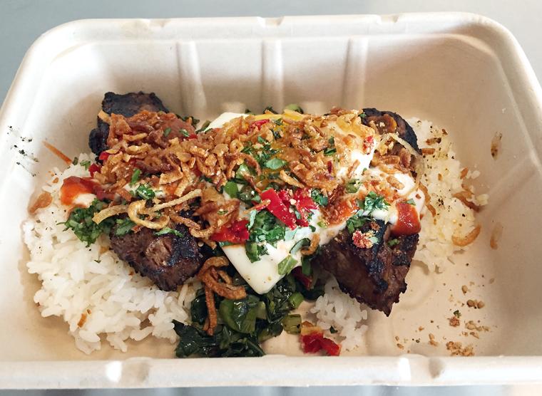 Prime rib rice plate.