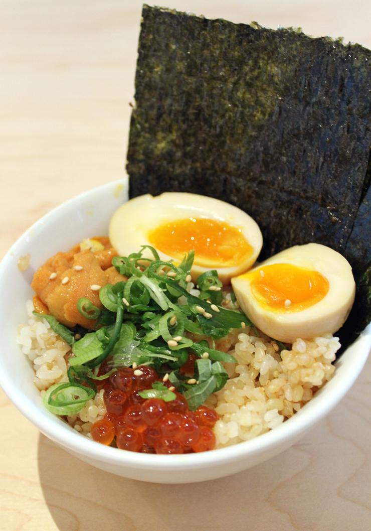 A rice bowl with eggs three ways at Itani Ramen.