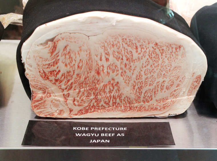 Wagyu on display in the dry-aging room.
